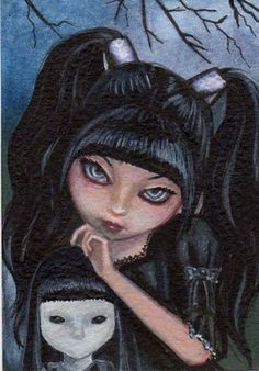 ORIGINAL ACEO GOTHIC SPOOKY FAIRY TALE FANTASY ART PAINTING