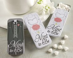 Mint to Be Bride and Groom Slide Mint Tins with Heart Mints --These are cute for the reception and bridal shower all-wedding