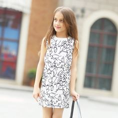 7b1d2e215fa Kids Girls Dress for Teenager Girl Summer Casual Dress 6 8 10 12 14 16  Years Love Applique Black Dresses Children Girls Clothes Review