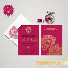 Items Similar To Indian Style Wedding Invitation RSVP Set In Orange Red  Indian Arabic Henna Decoration Exotic Wedding Indian Party Gold Hot Pink  Fuchsia On ...