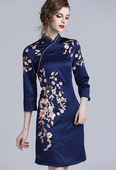 46156a0f2 Floral Embroidered Qipao Dress - Dress Album Chinese Embroidery, Satin  Shorts, Cheongsam Dress,