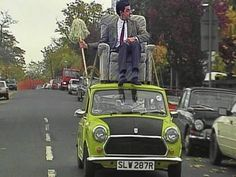Mr Bean Driving on roof of car.Mr bean buys a chair. Mr. Bean, Driving Humor, Johnny English, All Goes Wrong, Blackadder, British Comedy, Movies Playing, Famous Movies, Films