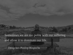 Sometimes we are too polite with our suffering and allow it to dominate our life. — Dzogchen Ponlop Rinpoche