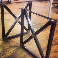 28 x 20 Flat Steel Table Leg Height 26 To 32 Set2 Bench
