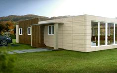 Modern prefabricated houses for less than € homify - modern houses from Casas Cube - Prefab Cottages, Prefabricated Houses, Brick Building, Building Design, Cube Photo, Cubes, Container Shop, Mobile Home Decorating, Great Buildings And Structures