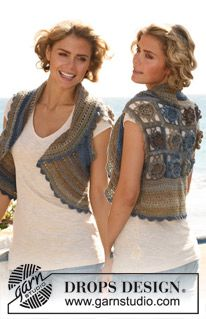 "Crochet DROPS bolero with flower squares on the back in ""Delight"". Size: XS - XXL ~ DROPS Design"
