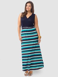 Emerson Maxi Dress In Navy Stripe by SWAK,Available in sizes 1X-5X