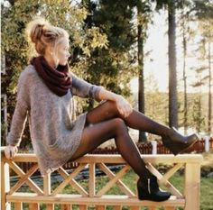 sweater dress with scarf and booties