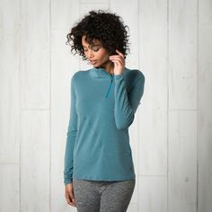 Swifty Quarter Zip Pullover by Outdoor Brands, Style Guides, Long Sleeve Tops, High Neck Dress, Turquoise, Pullover, Zip, Clothes For Women, Mens Tops