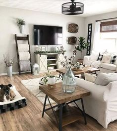 48 Cute Modern Farmhouse Living Room Decor Ideas living room design 48 C. 48 Cute Modern Farmhouse Living Room Decor Ideas living room design 48 Cute Modern Farmhouse Living Room Decor I. Small Space Living Room, New Living Room, My New Room, Tv Stand Living Room, Living Room Tables, Decorating Ideas For The Home Living Room, Small Living Room Ideas With Tv, Living Room Corner Decor, Townhouse Living Room Decor