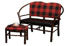 Amish Rustic Hickory Double Hoop Settee Bench