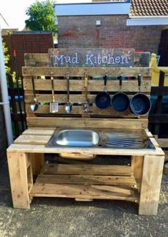 Best Ideas backyard playground mud kitchen The Effective Pictures We Offer You About Outdoor play areas ideas A quality picture can tell you many things. You can find the most b Outdoor Play Kitchen, Diy Mud Kitchen, Mud Kitchen For Kids, Kids Outdoor Play, Outdoor Play Spaces, Backyard For Kids, Kitchen Modern, Backyard Ideas, Garden Kids