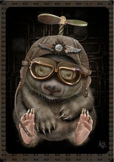 Who Knew Steampunk Could be So Cute? by artist Maxine Gadd ~Steampunk Love Chat Steampunk, Style Steampunk, Steampunk Gears, Steampunk Design, Steampunk Fashion, Steampunk Drawing, Cyberpunk, Lapin Art, Steampunk Animals