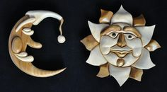 Intarsia Sun and ManintheMoon by WildWoodWizard on Etsy, $45.00
