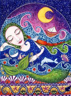 Mermaid Art Print Whimsical Folk Art Sea Maid mermaid art for kids room girls wall decor cute whimsical wall art print