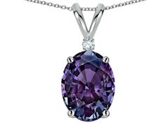 Star K Oval 8x6mm Simulated Alexandrite Pendant Necklace
