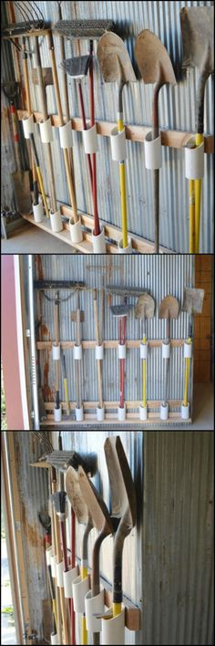 How to Build a Yard Tool Organizer from PVC Hate looking at the chaotic jumble . How to Build a Yard Tool Organizer from PVC Hate looking at the chaotic jumble of your garden/yard tools? Then you probably need this storage solution! Garden Tool Storage, Shed Storage, Garage Storage, Diy Storage, Outdoor Storage, Storage Ideas, Clothes Storage, Shed Organization, Organizing Ideas