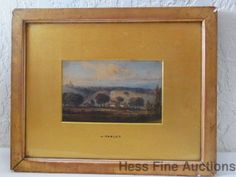Orig John Varley Elder Younger British watercolor Homestead Landscape Painting #Realism