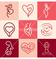 Pregnancy logo icons vector by andegra on VectorStock® Ep Logo, Birth Art, Clinic Logo, Yoga Logo, Mother Art, Planner, Logo Design Inspiration, Web Design, Vector Free
