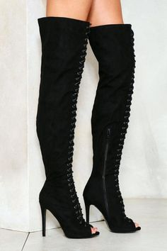Nasty Gal nastygal Love is in Control Over-the-Knee Vegan Suede Boot Leather Over The Knee Boots, Black Lace Up Boots, Suede Boots, Bootie Boots, Black Suede, Open Toe Boots, Vegan Boots, Stiletto Boots, Black Stilettos