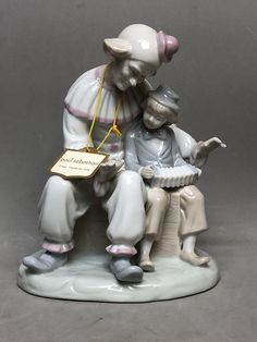 """PAUL SEBASTIAN """"Friendship""""  Fine Porcelain Clown and Boy with Accordion with Tag  - Pastel Colors, Lladro Like by Anaforia on Etsy Paul Sebastian, Pierrot Clown, Asian Home Decor, Red Felt, Korean Traditional, Fine Porcelain, Red Riding Hood, Little Red, Pastel Colors"""