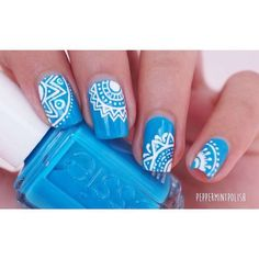 """Because I don't know when I'm gonna have internet again, I've decided to post these ☺️ I wanted to do a summer mandala pattern on top of my """"strut your stuff"""" Stamping Nail Art, Gel Nail Art, Acrylic Nails, Crazy Nail Art, Crazy Nails, Cute Nails, Pretty Nails, Summer Toe Nails, Nail Photos"""