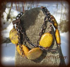 Agatized Fossil Coral and Copper Bracelet by SnowPineDesign, $33.00