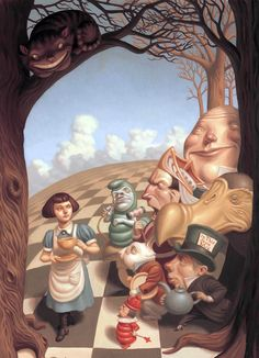 Peter Ferguson's art for the Royal Shakespeare Company's 2001 World Premiere of Adriam Mitchell's adaptation of Alice in Wonderland and Through the Looking-Glass.