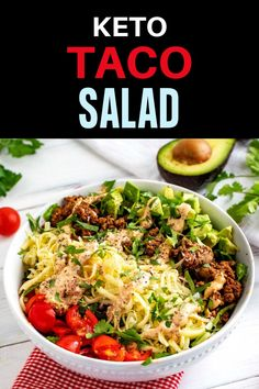 If you are on a low carb diet, you need this Keto Taco Salad Recipe in your life! I make it with beef, but you can use ground turkey too. With a delicious dressing that is SO EASY to make, this is perfect for meal prep. Low Carb Taco Salad, Taco Salad Recipes, Healthy Salad Recipes, Lunch Recipes, Mexican Food Recipes, Keto Recipes, Dinner Recipes, Lunch Ideas, Meal Ideas
