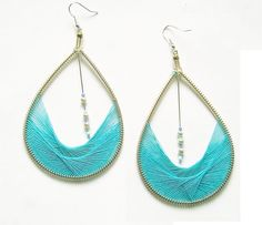 Blue Aqua Peruvian Thread Teardrop Earrings