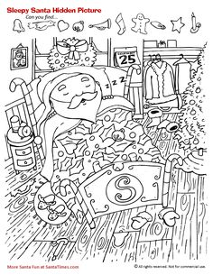 Sleepy Santa Hidden Picture Activity Christmas Coloring Page Noel Christmas, Christmas Colors, Christmas Crafts, Christmas Activities, Activities For Kids, Colouring Pages, Coloring Books, Hidden Pictures Printables, Hidden Picture Puzzles
