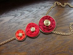 Red Zipper Necklace Zipper Jewelry Handmade by NasttiaDesigns