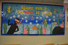 "Finding Nemo themed classroom...  ""Ready for a 'Ter-reef-ic' Year!"""