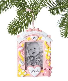 Another great find on #zulily! Pink 'Baby's 1st Christmas' Personalized Frame Ornament #zulilyfinds
