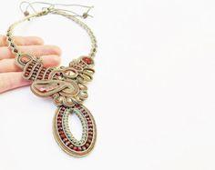 Soutache Schmuck, Anweisung Soutache Halskette. OOAK. Handgemachter Schmuck, Soutache Collier, Perlen Schmuck, handgemachte Soutache Halskette