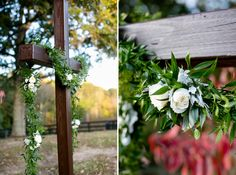 Floral garland for custom built cross. Cross ceremony backdrop.  Carley Rehberg Photography