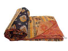 Vintage Throw Kantha Quilt Antique Reversible Indian Gudari Handmade Bedspread Bedding Blanket Ralli Ethnic Suzani Saree Sari Fabric 379