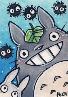 Original watercolor ACEO My Neighbor Totoro and Soot Sprites $20.00