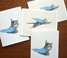 The Superhero Cat Card Set  by Late Night Drawing