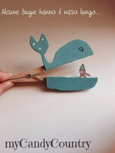 Pinocchio and whale clothespin puppet Pinocchio, Ben Y Holly, Paper Puppets, Puppet Crafts, Bookbinding, Diy Crafts For Kids, Preschool Activities, Crafty, Handmade