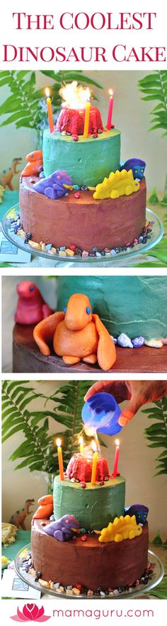 Create an amazing dinosaur cake for your child's dinosaur birthday party. It's a jaw-dropper! This 3 layer cake is decorated with marzipan dinosaurs, chocolate rocks, and a steaming volcano on top! You don't need fancy baking skills to make this. Sculpting the marzipan dinosaurs is just like playing with playdoh. You can do it! The most amazing part it the volcano on top. Dry-ice makes an incredible steaming effect. Expect lots of oohs and ahhs with this one. Check out the article for…