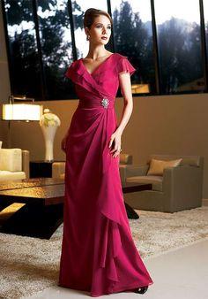 V-neck Short Sleeves Empire Waist Side-Draped A-line Mother Bride Dress