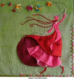 Ambitious but lovely Love this applique! The dimensional applique of this quilt absolutely takes my breath away! The piece was posted by BD Couture and is the work of her mother, Liliane D., based on art by Gaelle Boissonnard. Fabric Art, Fabric Crafts, Sewing Crafts, Sewing Projects, Diy Crafts, Crazy Quilting, Art Quilting, Crazy Patchwork, Embroidery Applique