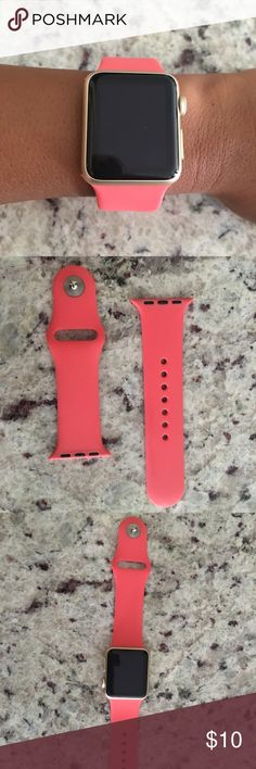 Coral pink Apple Watch 38mm band Not apple brand but looks just like the apple bands. A++ quality. Used a few times. Accessories Watches
