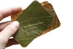 Environmentally friendly business cards, made from dried leaves. Designed by Tyra van Mossevelde/ Studio Mosgroen. Business Notes, Business Branding, Business Card Design, Creative Business, Packaging Design, Branding Design, Identity Branding, Stationery Design, Visual Identity