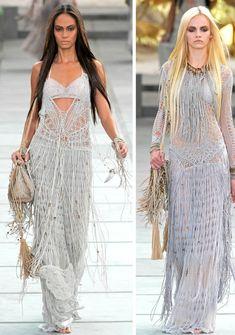 From plant hanger to Gucci dress: macrame! Macrame Dress, Macrame Art, Gucci Dress, Cavalli Dress, Mode Boho, Macrame Patterns, Boho Outfits, Crochet Clothes, Dress Skirt