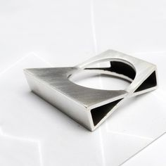OOAK- Facing Triangles Ring - Sterling Silver from Mujoyas at Etsy .com  $154.00