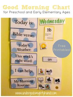 Good Morning Chart for preschoolers and early elementary ages {with free printables!} via Under God's Mighty Hand