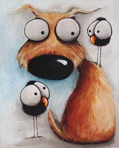 Original acrylic canvas painting whimsical modern art animal Dog puppy bird crow #Modernism                                                                                                                                                      Más