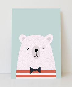 Lámina oso con pajarita